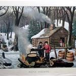 Old print of maple sugaring camp