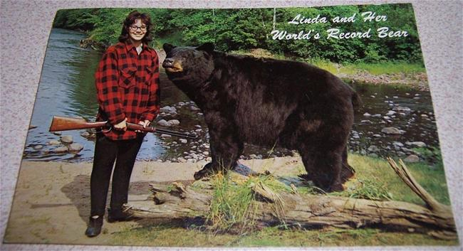 Linda Lunsman with bear mount
